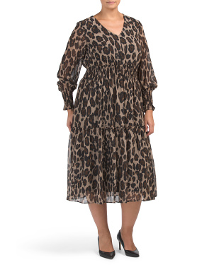 Plus Animal Print Dress With Cinched Sleeve