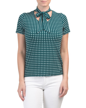 Printed Top With Tie Collar