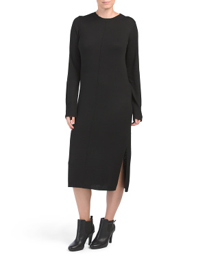 Cashmere Blend Midi Sweater Dress With Slit