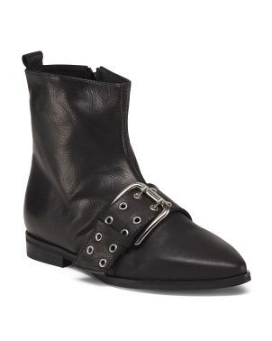 Made In Italy Leather Pointy Toe Buckle Boots