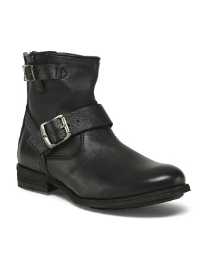 Buckle Leather Bootie