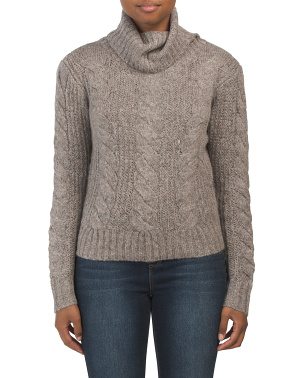 Juniors Cropped Cable Turtleneck Sweater