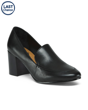 Cushioned Leather Loafer Pumps