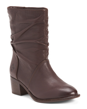 Slouchy Mid Shaft Leather Boots