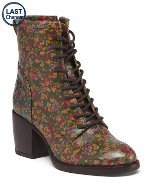 Leather Printed Lace Up Boots