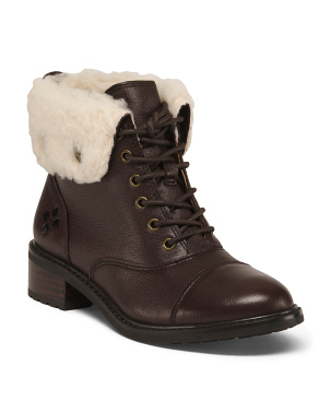 Shearling Cuff Leather Combat Boots