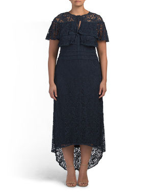 Plus High-lo Lace Gown