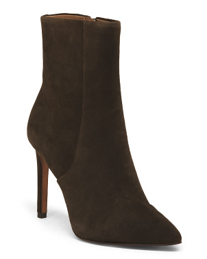 Suede Stiletto Heel Booties