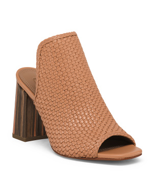 Woven Leather Peep Toe Mules