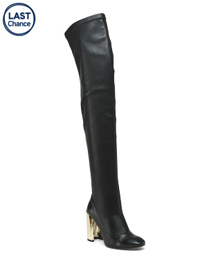 Over The Knee Leather Stretch Boots