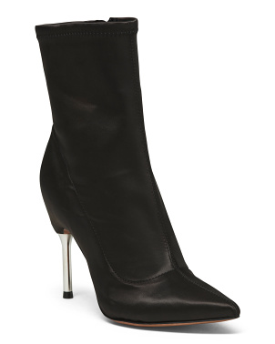Satin Stiletto Stretch Ankle Boots