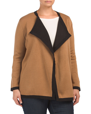 Plus Drapey Color Block Cardigan