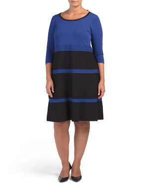 Plus Stripe Fit And Flare Sweater Dress