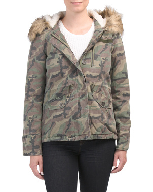 Juniors Anorak With Faux Fur Hood