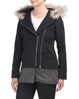 Juniors Wool Blend Zip Jacket