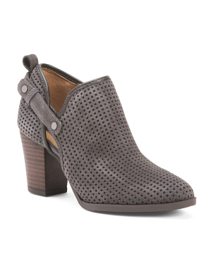 Side Buckle Perforated Suede Booties