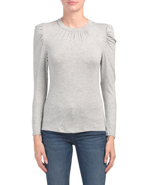 Made In USA Long Sleeve Puff Shoulder Top