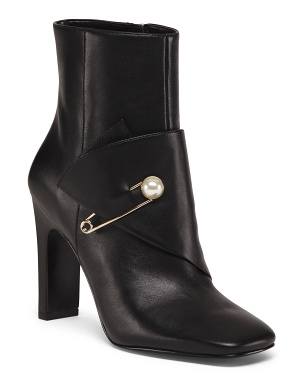 Leather Square Toe Ankle Booties