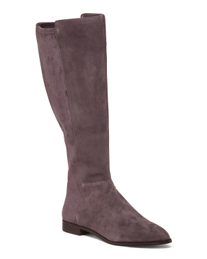 Wide Calf High Shaft Suede Boots