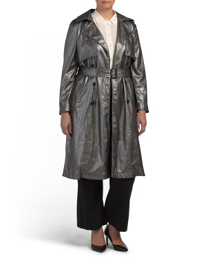 Plus Faux Leather Metallic Belted Coat