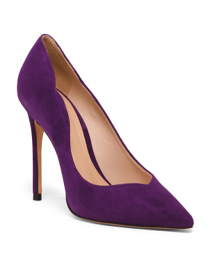 Made In Brazil Suede Scalloped Pointy Toe Pumps
