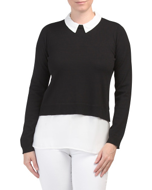 Chiffon Twofer Sweater