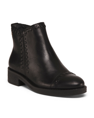 Leather Booties With Cap Toe
