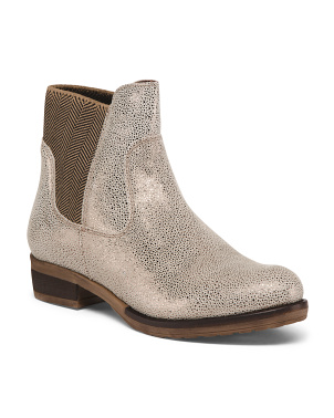 Leather Shimmer Booties