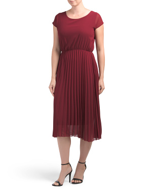 Made In Italy Pleated Satin Midi Cocktail Dress