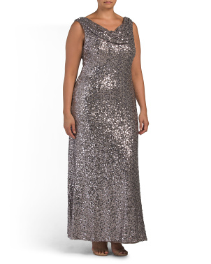 Plus Drape Neck Sequin Gown