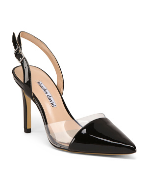 Vinyl And Leather Pointed Toe Pumps