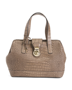 Made In Italy Croc Embossed Leather Bag