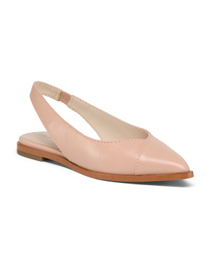 Leather Pointy Toe Slingback Comfort Flats