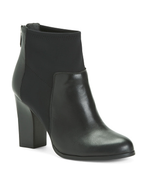 Leather Block Heel Boots