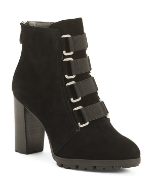 Suede Lug Sole Ankle Booties