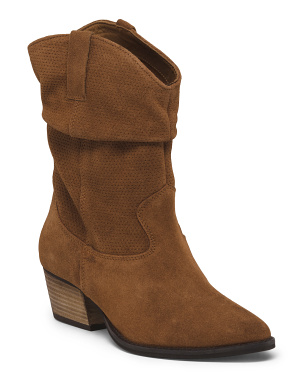 Suede Mid Shaft Stacked Heel Boots