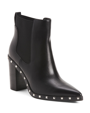 Studded Pointy Toe Booties With Goring