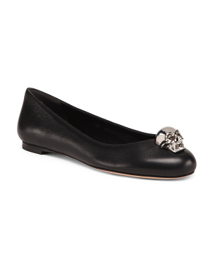 Leather Flats With Skull Ornament
