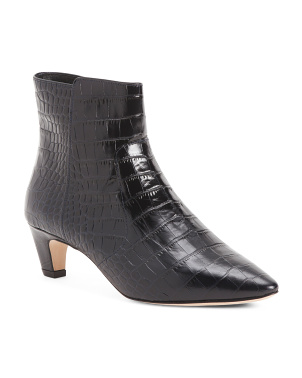 Made In Italy Pointy Toe Croc Embossed Leather Booties