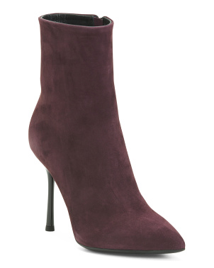 Made In Italy Suede Pointy Toe Dress Booties