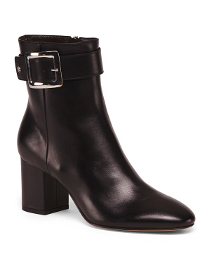 Made In Italy Leather Buckle Booties