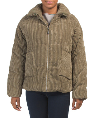 Juniors Corduroy Puffer Jacket