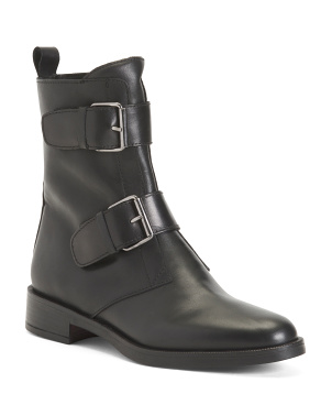 Made In Italy Double Buckle Leather Boots
