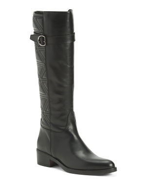 Made In Italy Quilted Leather Knee High Boots