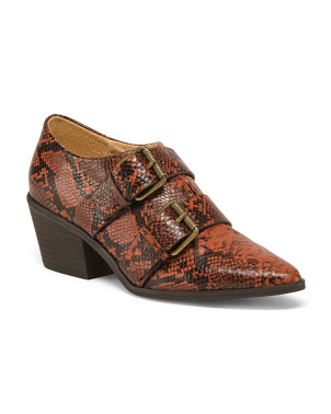 Snakeskin Embossed Leather Buckle Shoes