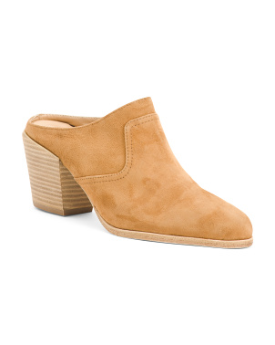 Made In Italy Suede Block Heel Mules