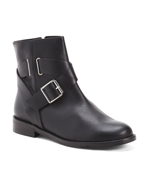 Made In Italy Leather Buckle Boots