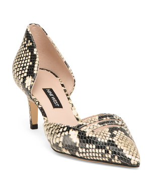 Embossed Snake Pattern Leather Kitten Heels