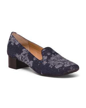 Printed Denim Loafers