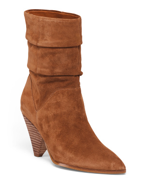 Pointy Toe Mid Shaft Suede Booties